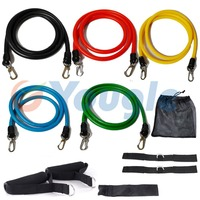 New 11 Pcs Set Latex Resistance Bands Workout Exercise Pilates Yoga Crossfit Fitness Tubes Pull Rope