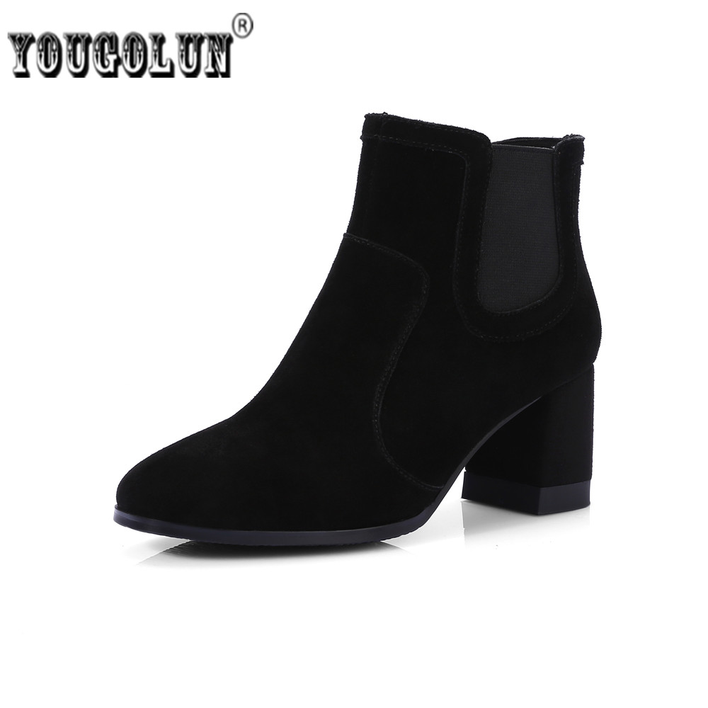 YOUGOLUN Women suede Genuine leather Ankle boots women's Autumn winter boots 2018 Woman fashion nubuck thick high heels shoes