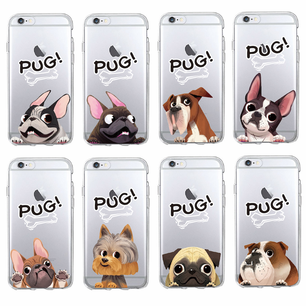 TOMOCOMO Cartoon Puppy Pug French Bulldog Dog Love Soft Phone Case Coque Funda For iPhone7Plus 6 6S 6Plus 8 8plus X SAMSUNG