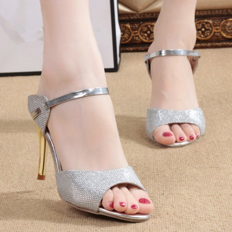563c797fa3e0 2017 High Heels Sandals Gold Sliver Ankle Wrap Women pumps Sandals  Beautiful Ladies Sandals Summer Shoes Gladiator Heels S1-in Women s Sandals  from Shoes on ...