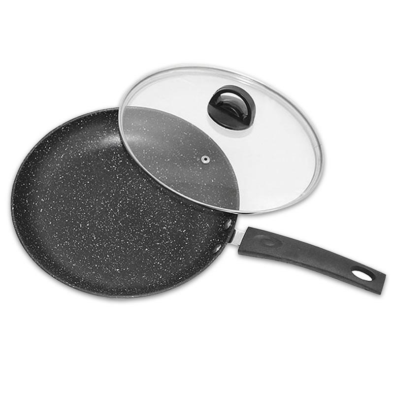26 cm Poêle À Frire avec Couvercle En Verre Non-bâton Poêle sans fumée Steak Grill Casserole Pot ménage Cuisine Ustensiles de Cuisine