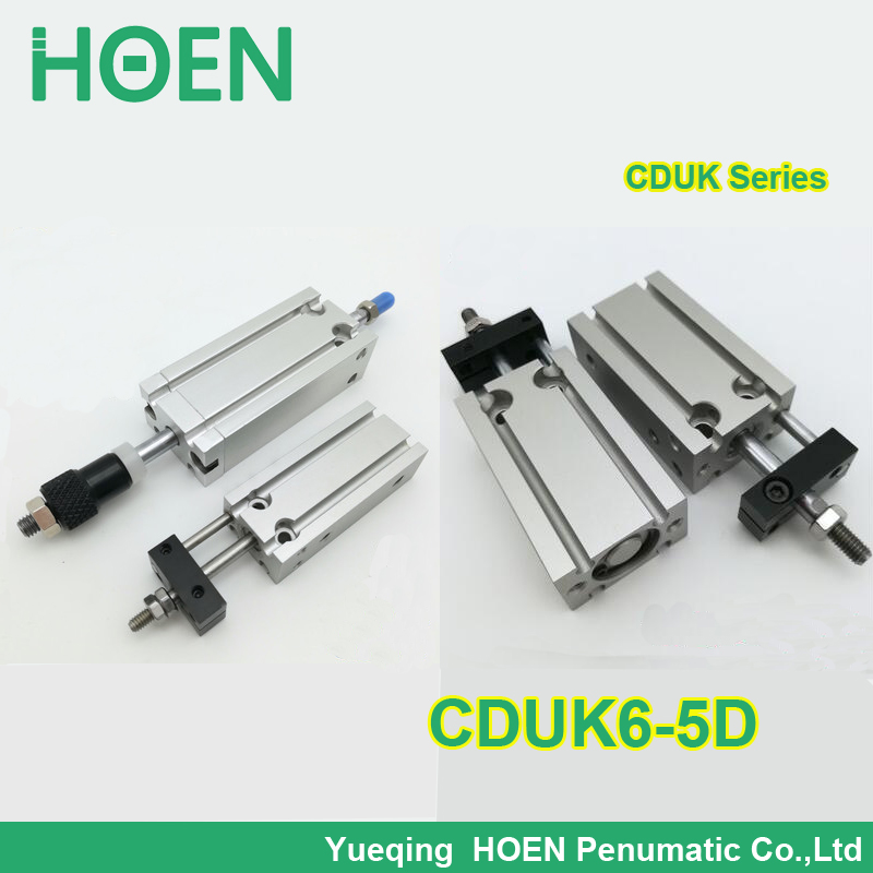 CDUK6-5D SMC type double-acting Non-rotating rod bore 6mm stroke 5mm aluminum alloy pneumatic air cylinder high quality double acting pneumatic gripper mhy2 25d smc type 180 degree angular style air cylinder aluminium clamps