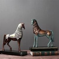Retro Bronze Horse Nostalgic Home Decoration Resin Horse Statue Animal Resin Ornaments Wear Armor Horse