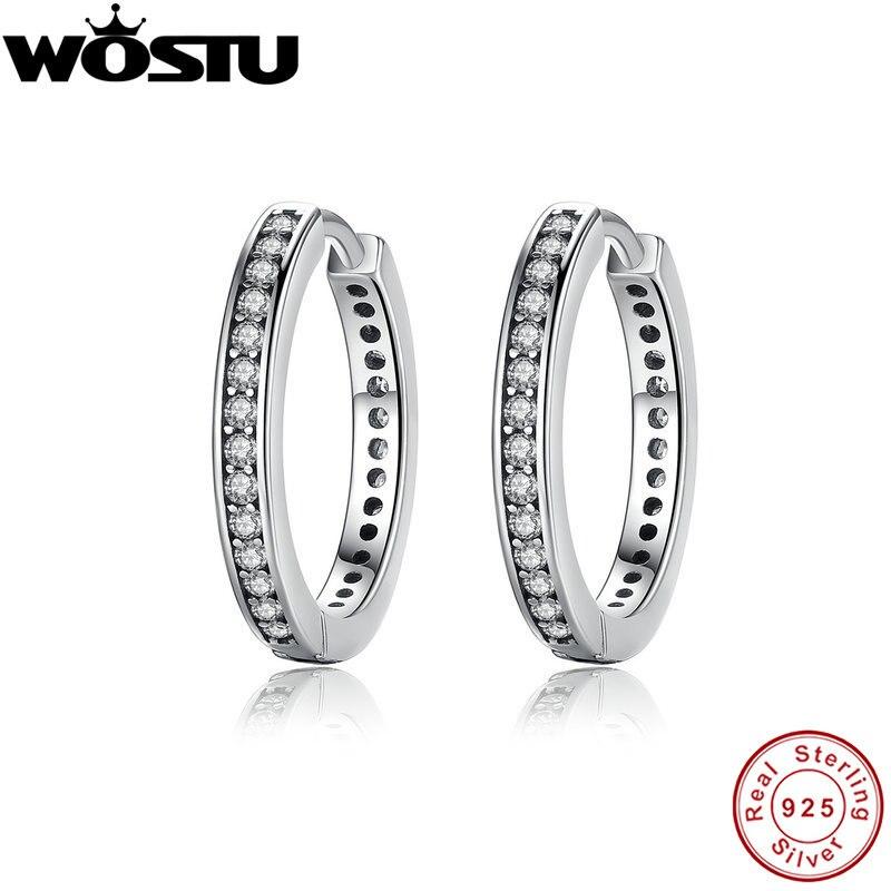 Высокое качество 100% стерлингового серебра 925 вечерние ВЕЧНОСТЬ СЕРЬГИ ОБРУЧА с прозрачными камнями для Для женщин женские оригинальные украшения ZBBS456