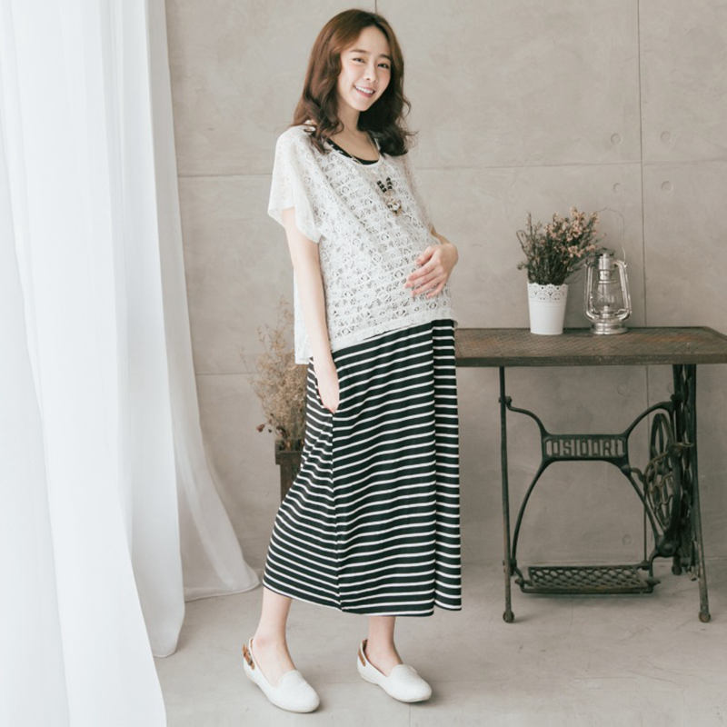 Fashion 2019 Summer Maternity Dresses 2pcs Lace Tops And Striped Dress For Pregnancy Women Korean Breastfeeding Dress Clothes