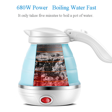 LUCOG Travel Foldable Electric Kettle Food Grade Boil Dry Protection Silicone Collapses Camping Kettle Dual Voltage 110-220V