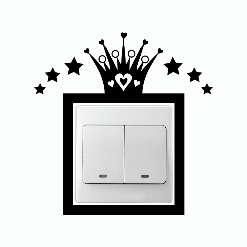 KG-122 Creative Princess Crown Vinyl Light Switch Sticker Cartoon Crown Wall Stikcer Wallpaper