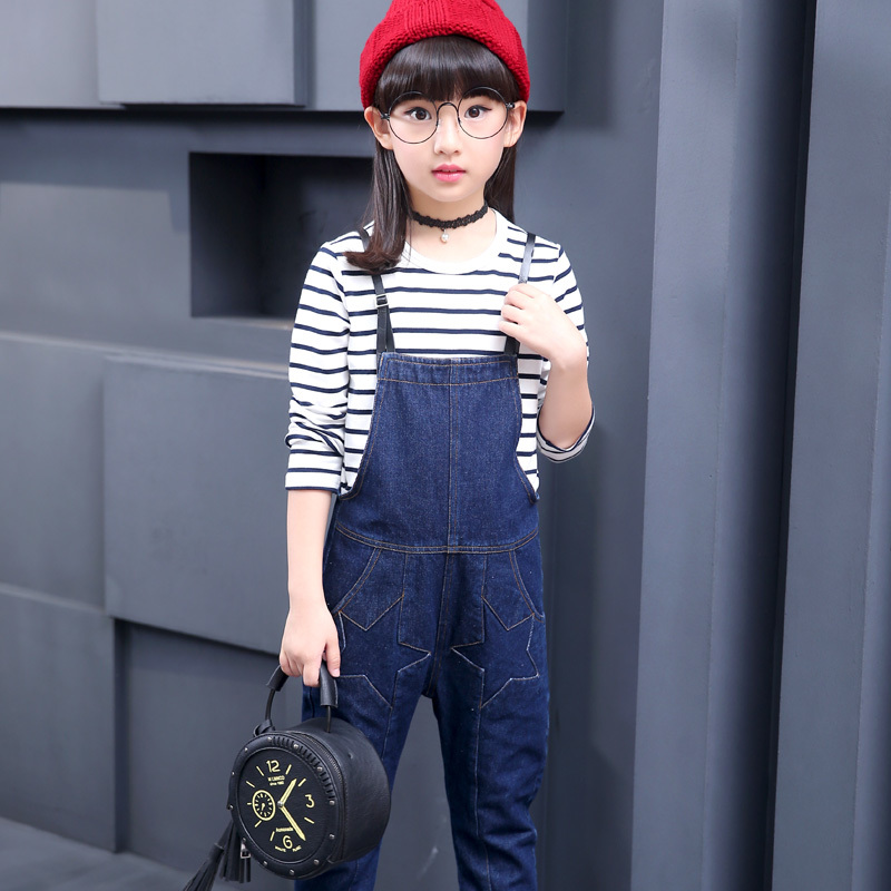 Baby Girl 3-12 Autumn Teenage Girls Denim Pants Girl Denim Pants Kids Overalls Jeans Girls Denim Overalls Cowboy Straps Trousers afs jeep autumn jeans mens straight denim trousers loose plus size 42 cowboy jeans male man clothing men casual botton page 3