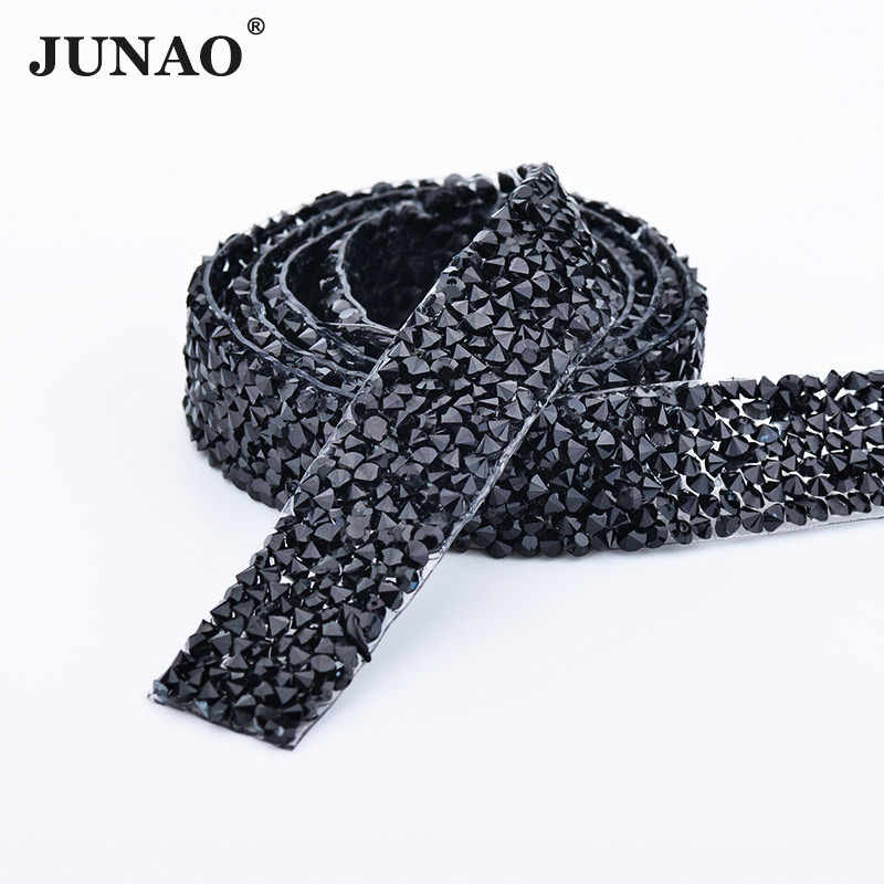 Detail Feedback Questions about JUNAO 5 Yard  15mm Hotfix Black Rhinestones  Fabric Chain Resin Crystal Mesh Trim Strass Appliques Banding For DIY  Clothes ... 2bba6b24e1c0