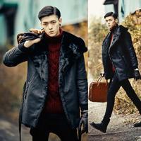 Winter faux mink hair fur coats mens warm medium long overcoat mens leather jackets and coats thermal masculino chaqueta black