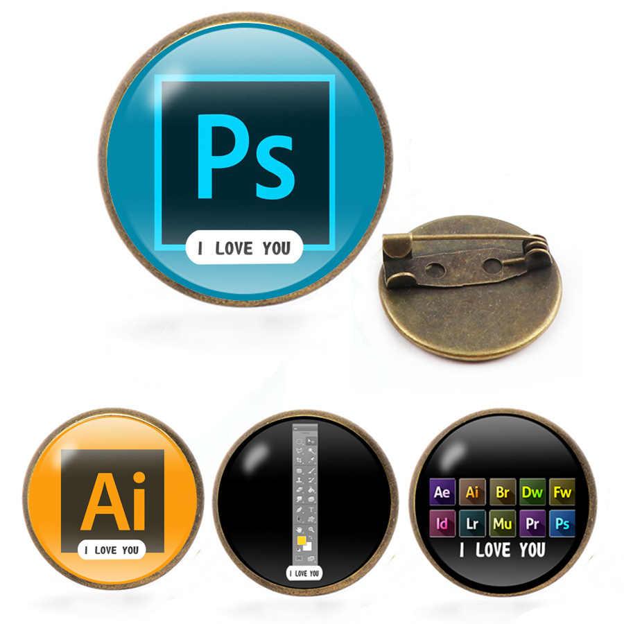 جديد المصور فوتوشوب دبابيس أحبك بروش شريط الأدوات التلبيب دبوس AI PS أحجار كريمة زجاجية دبابيس دبابيس للمصممين والفنانين