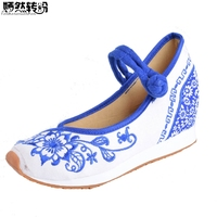 Vintage Women Flats Canvas Blue And White Flower Embroidery Casual Cotton Cloth Platforms Shoes Woman Sapato