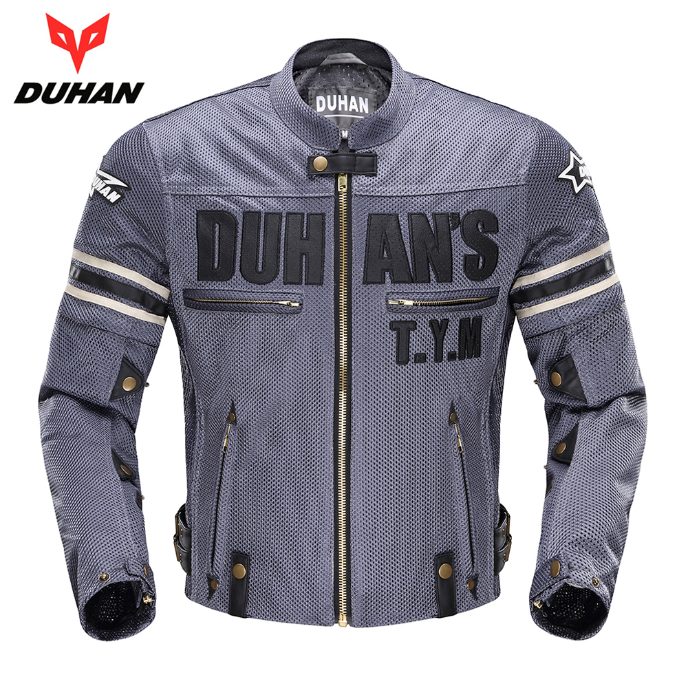 DUHAN Vintage Motorcycle Jacket Men Protective Gear Riding Motorbike Moto Jacket Breathable Motorcycle Protectors for Summer duhan men s motorcycle jeans motorbike riding biker trousers denim motorcycle pants men moto pants knee guards protective gear