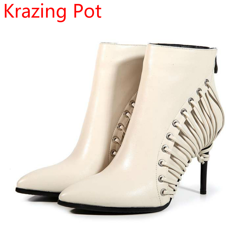 2018 New Arrival Genuine Leather Tassel Shoes Women Super High Heel Sollid Large Size Zipper Pointed Toe Elegant Ankle Boots L53 inc new polished coral pink women s size large l keyhole tassel blouse $39 010
