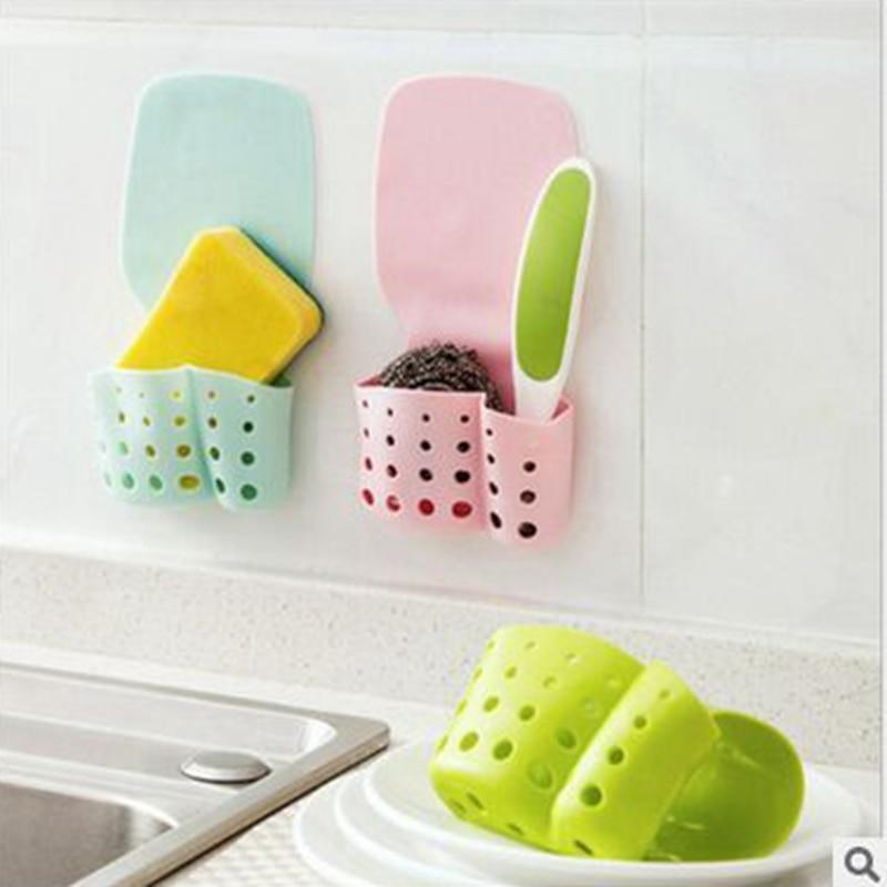 Кнопки Раковина кран Корпус Колыбели Кухня стеллажи стойки Кухня губка держатель корзина для хранения