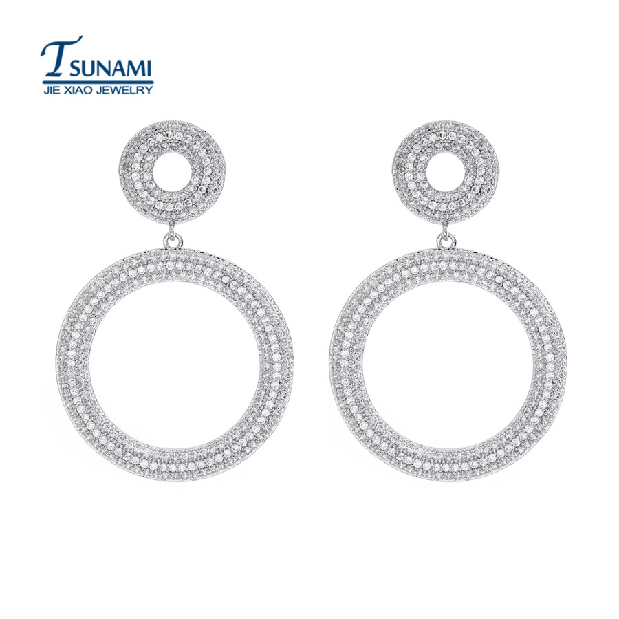 Very exaggerated the great circle of small round AAA cubic zirconia zircon earrings Women's wedding zircon earrings ER040