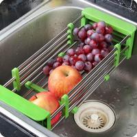 Retractable Stainless Steel Sink Drainer Storage Rack Plate Holder Fruit Shelf Vegetables Basket Rack