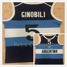 7a1984eec2 #5 Manu Ginobili Team Argentina Navy Blue Retro Throwback Basketball Jersey  Embroidery Stitched Customize any
