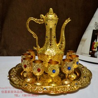 10 sets of high grade gold wine set 1 1 8 European diamond glass jug tray antique wine gift