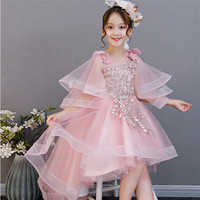 Summer Girls Toddler Fashion Birthday Evening Party Tail Ball Gown Mesh Dress Baby Kids Piano Model Show Dress For 3~13years old