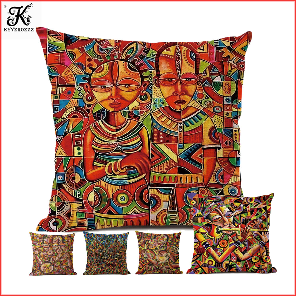 Colorful Abstract Africa Painting Art Home Decorative Sofa Throw Pillow Case Exotic African Lifestyle Cotton Linen Cushion Cover