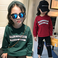 2017 spring and autumn hot fashion children's cotton T-shirt girls 4-11 years old printed letters solid color pullover