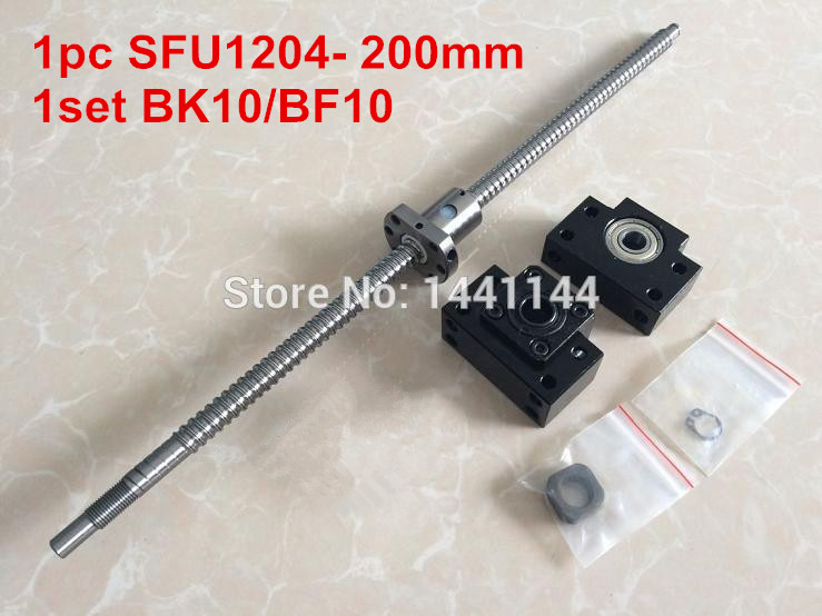 1pcs ballscrew SFU1204 - 200mm  + BK10/BF10 for CNC Route machine bk10