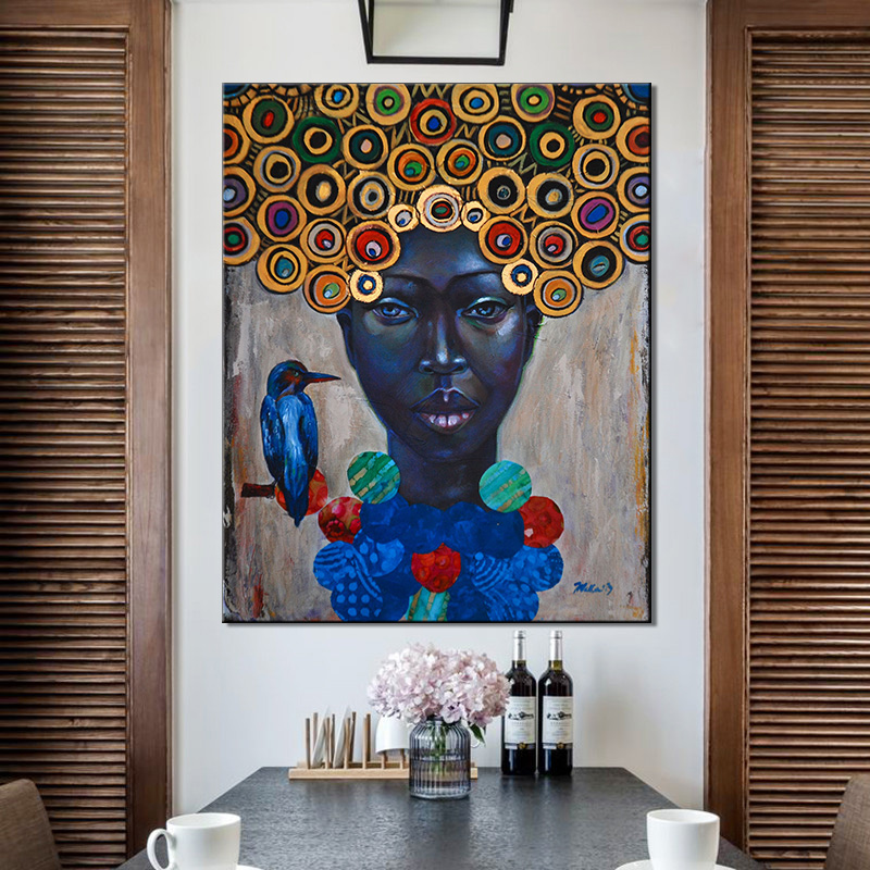 African Woman Poster Wall Art Canvas Painting Wall ...