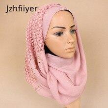 women shawl scarves mujer muslim hijab turban beads stole echarpes plain neck wrap hijab shawl muslim scarf cotton long wrap цена