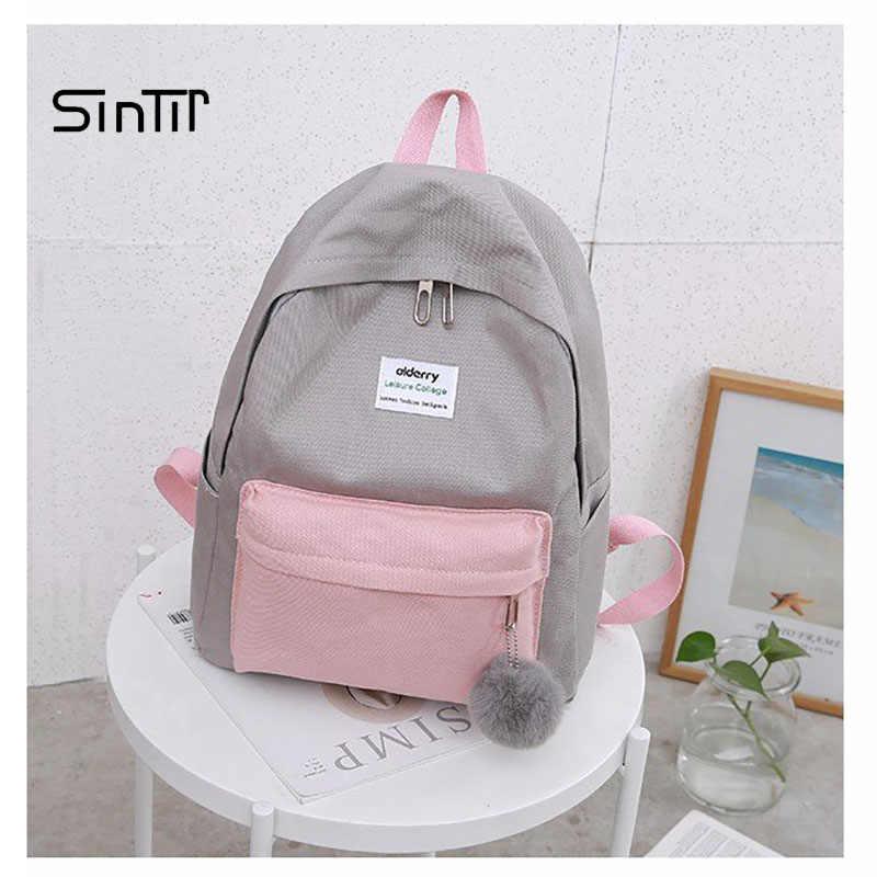 38f2945d87c4 Женский нейлоновый меховой рюкзак для подростков девушек женские сумки  мраморный рюкзак женский компьютерный рюкзак школьный Feminina