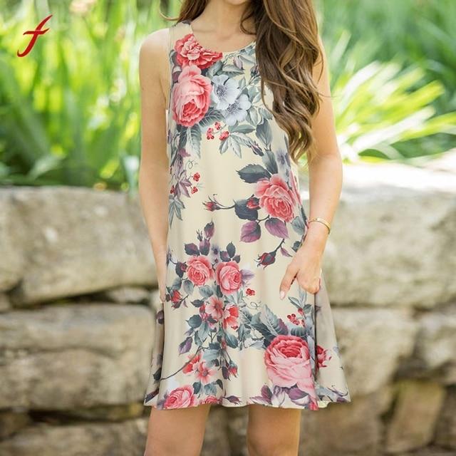 FEITONG Women Summer Sleeveless Tank Dress Sexy With V neckline ...
