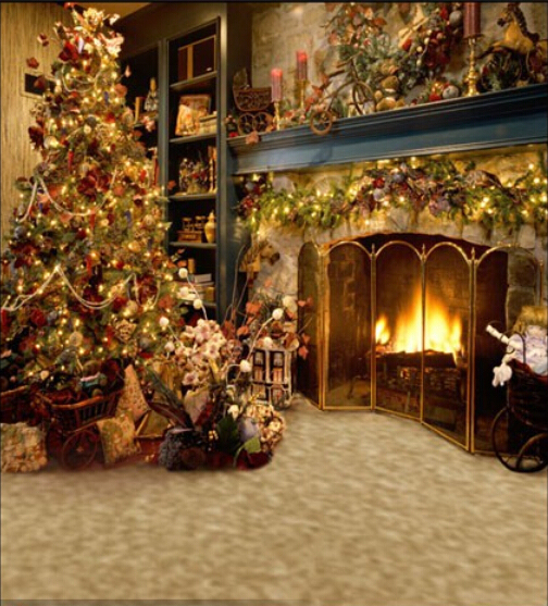 Sa 3d Name Wallpaper Vintage Christmas Tree Fireplace Backdrop 1 5x2m Computer