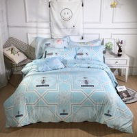 2019 Blue Fantasy Bedding Set New Style Bed Set Luxury Tencel Bed Sheet Queen Size Duvet Cover Set Bed Linen 3 Styles