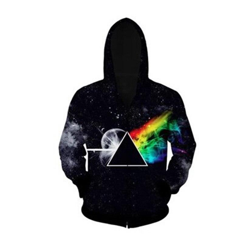 2017 Fashion Men Women Autumn Galaxy 3d Jacket Coat Fitness Hoodies Geometry Triangle Galaxy Space Print