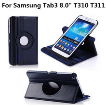 "For Samsung Galaxy Tab 3 8.0 T310 T311 T3100 T3110 SM-T310 SM-T311 Tab3 8"" Tablet Case 360 Rotating Stand Flip Leather Cover(China)"