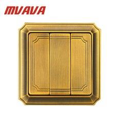 MVAVA Luxury Bronzed Wall Switch 16A 110-250V Decorative 3 Gang 2 Way Electrical Light Push Button Wall Switch Free Shipping