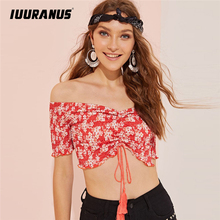 IUURANUS Fashion Bohemia Summer Blouse Off Shoulder Short Sleeve Floral Printing Bandage Backless Beach
