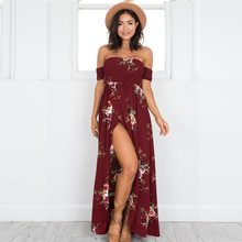 Summer Print Bohemian Strapless Floral Dress Off Shoulder Simple Split Backless Women Long Beach Office Maxi Large Dresses