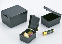 10 أجزاء/وحدة 7.5x5.5x4.5 سنتيمتر الأسود ضوء صناديق الحماية مستطيلة عينة صندوق صغير صندوق تخزين المجوهرات بن