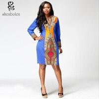 2017 Hot New Batik Printing African National Costume Long Sleeved Dress