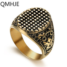 Oval Nail Men Ring Seal Signet Gold Color Titanium Stainless Steel Male Rings Punk Hip Vintage Jewelry Wedding Band Party DAR023 jiayiqi punk titanium steel ring big black stone square ring men silver color for male jewelry vintage wedding party gift