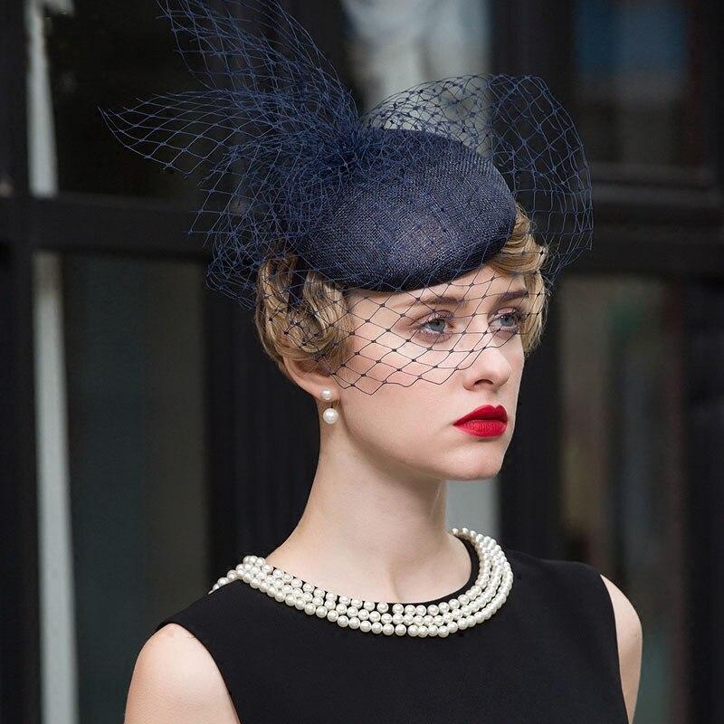 FS Sinamay église chapeaux pour femmes bleu foncé pilulier chapeaux avec voile robe de mariée chapeau élégant dame Fascinators lin fête Cap