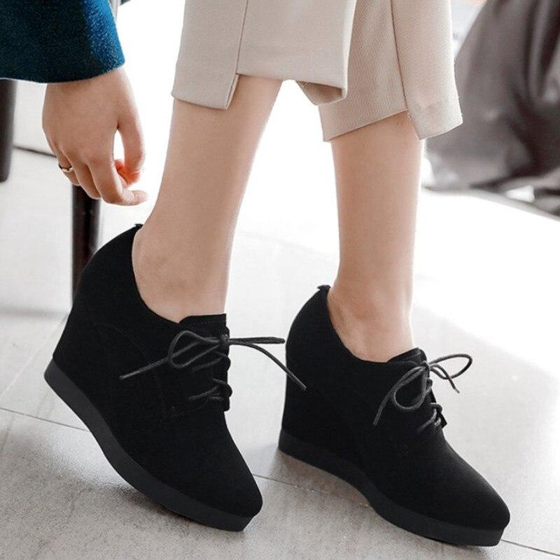 2019 새로운 도착 웨지 신발 여성 하이힐 지적 발가락 검은 신발 스웨이드 가죽 플랫폼 신발 여자 펌프 높은 quanlity-에서여성용 펌프부터 신발 의  그룹 1