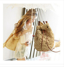 New woven rattan straw bag Bucket string mouth beach summer spring  hollow out bag 1pcs free post