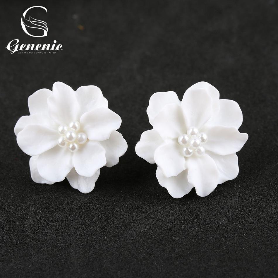 1pair New Fashion Big White Flower Ear Studs Earrings For Women Jewelry  Elegant Gift