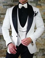 Elegant Men Suit Groom Wear 2018 New Groomsmen Casual Fashion Blazer Slim Prom Tuxedo Wedding Suits For Men Bridegroom 3 Pieces