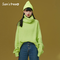 Samstree Winter Female Sweater Loose Turtleneck Knitted Pullovers Solid Color Casual Women Sweaters