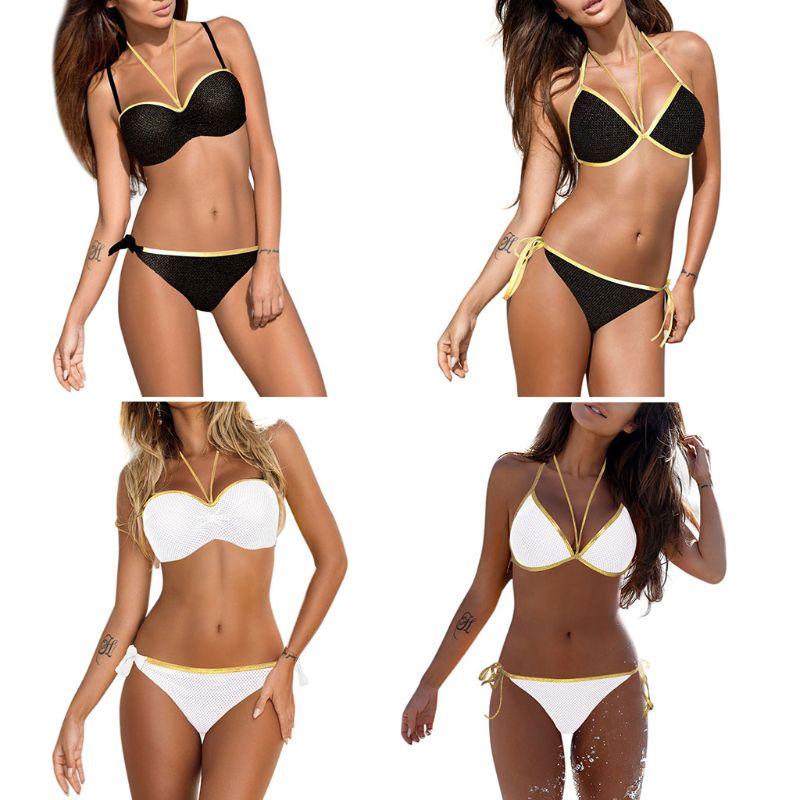 Femmes Sexy deux pièces Bikini ensemble rembourré à bretelles licou soutien-gorge paillettes or Faux cuir bord côté cravate noeud maille Patchwork maillot de bain 1