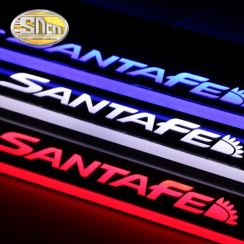 4 個アクリル移動 LED 歓迎ペダル 4 本プレートペダルドア敷居経路現代サンタフェ 2010  2014 2015  グループ上の 自動車 &バイク からの 車のステッカー の中 3