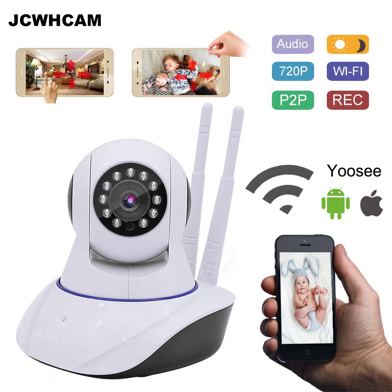 JCWHCAM Pan Tilt Wireless IP Camera Wifi 720P HD CCTV Camera Home P2P Security Surveillance Two-Way Audio 64GB SD Card howell wireless security hd 960p wifi ip camera p2p pan tilt motion detection video baby monitor 2 way audio and ir night vision